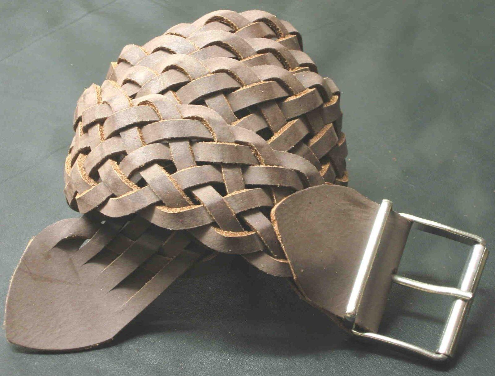 1A SATTLERARBEIT Ledergürtel LEDER Flechtgürtel NEU Gürtel 80-90cm BREITE: 5cm #