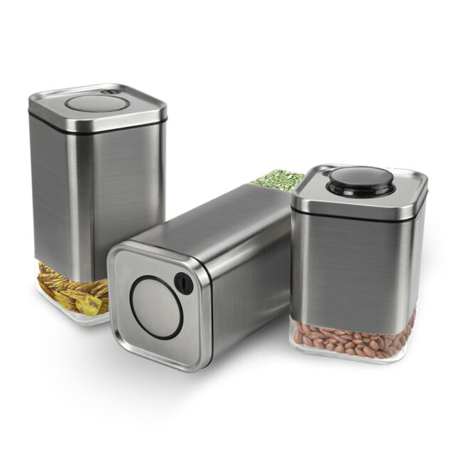 3 Pcs Stainless Steel and Glass BPA Free Airtight Food Storage Containers  Set