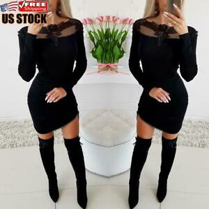 Women-Lace-Mesh-Bodycon-Mini-Dress-Long-Sleeve-Evening-Party-Cocktail-Club-Dress