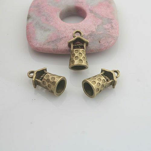 15pcs antiqued bronze color ancient well design pendant charm G1891