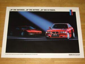BMW M3 E36 POSTER 33 - BMW M1 MYTHOS M POWER M GMBH / ORIGINAL VINTAGE IN MINT