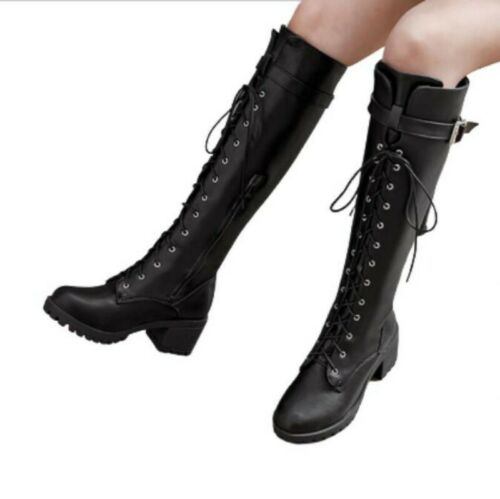 Details about  /34//43 Women Princess Style Gothic Office Work Knee High Boots Low Heel Shoes L