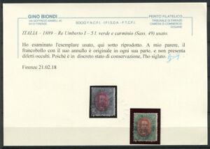 Italien-1889-Sass-49-Gestempelt-60-Attest-5-l-gruen-und-Carmine