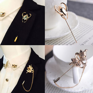 Charm-Men-039-s-Badge-Corsage-Boutonniere-Lapel-Stick-Gold-Broach-Brooch-Pin-Access