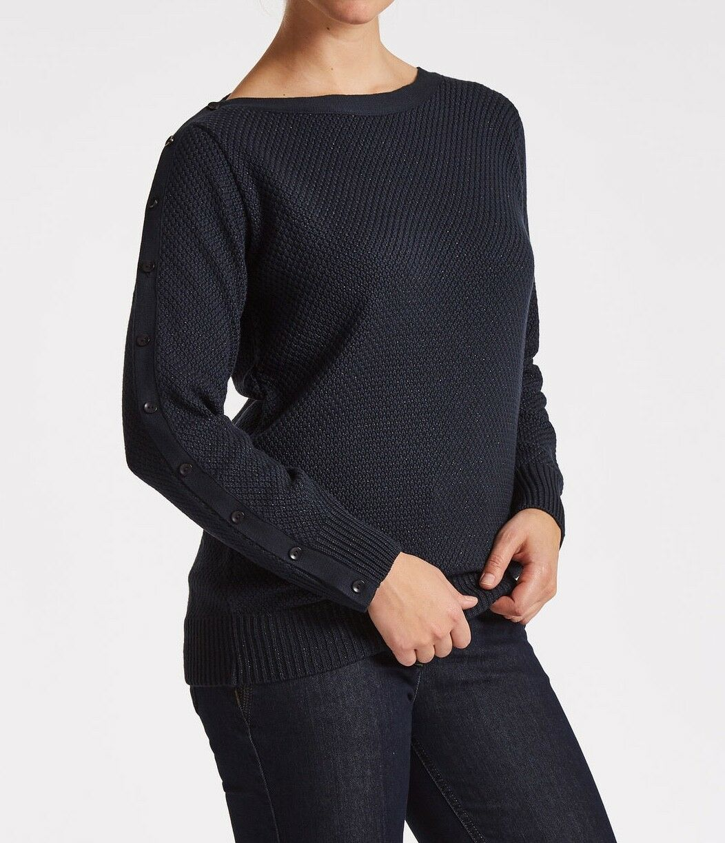 Laurie Navy lurex Pisa Sweater. Size 12 14. RRP