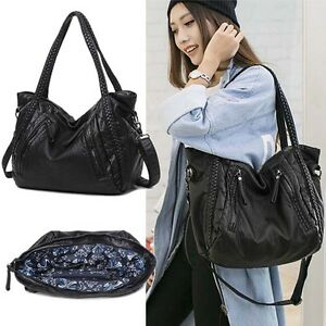 La Foto Se Está Cargando Women Black Soft Washed Leather Handbags Hobo Tote