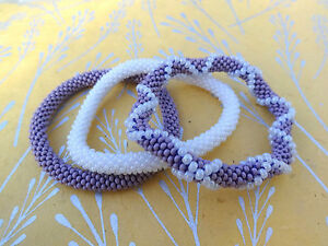 Set-of-Three-Purple-White-Crocheted-Beaded-Bracelet-Handmade-in-Nepal-Roll-on