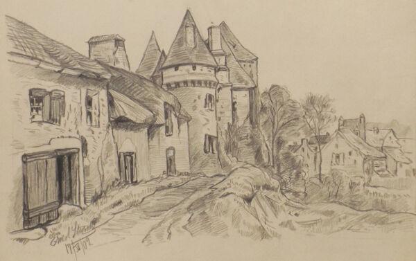 """"""" Vue Du Village Paysage Art Nouveau """" Bleistift.sign. Ernest Sturm 17.iiv.1902 RéSistance Au Froissement"""