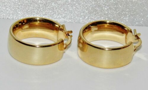 Oro Amarillo 9CT en Grueso De Plata Anillo De Boda Criolla Aro Pendientes