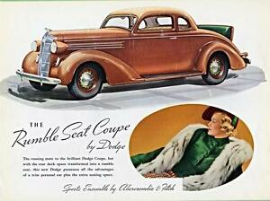 Image Is Loading Old Print Brown 1936 Dodge Rumble Seat Coupe