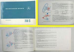 Mercedes-Benz-250S-W108-Betriebsanleitung-Bedienungsanleitung-Original-1965