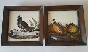 """Vintage Brass Trays Set With Ceramic Tiles Featuring Pheasant & Grouse 5.25"""" Sq"""