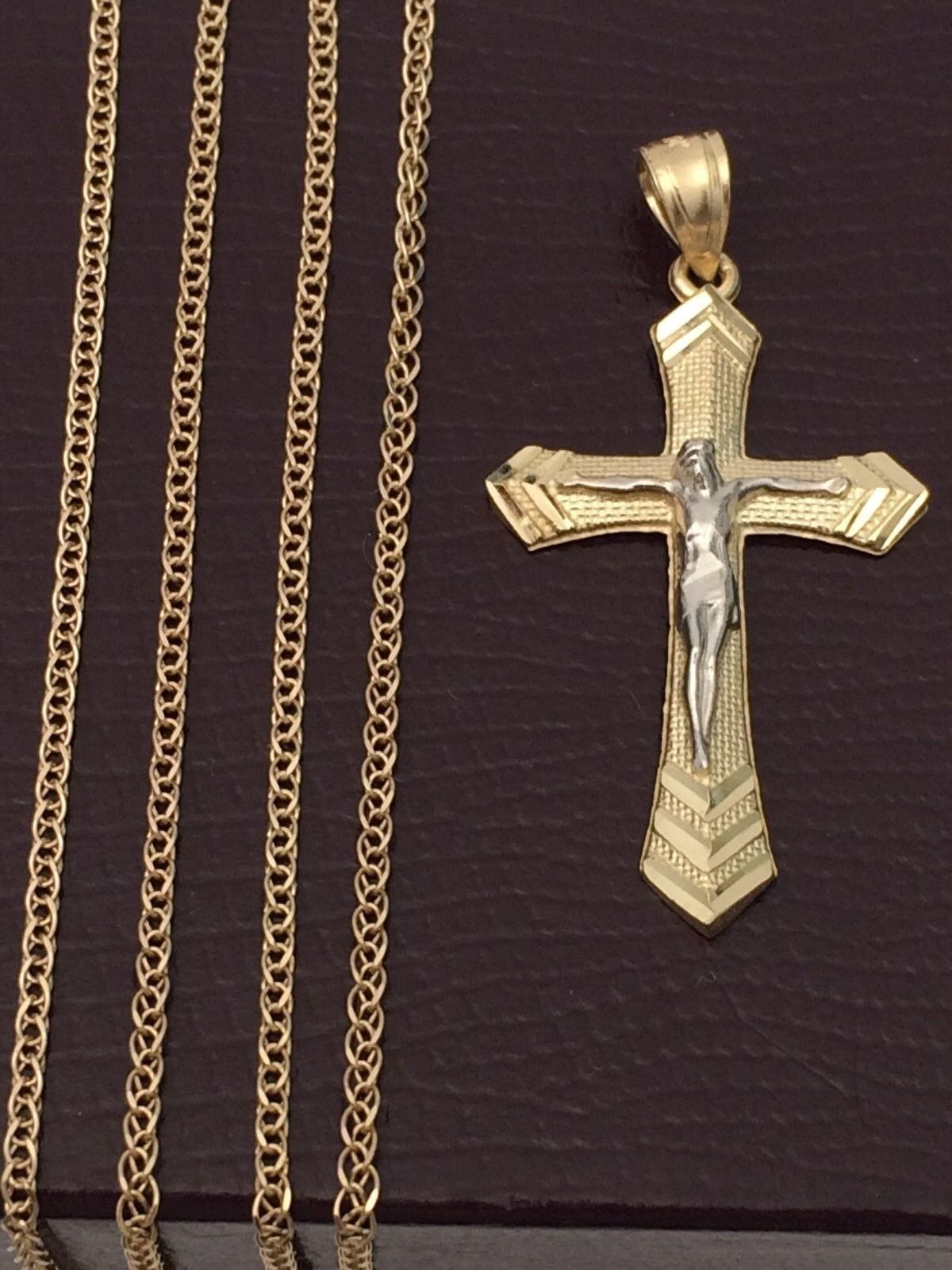 Real 10k Yellow White gold Jesus Cross Crucifix Pendant Charm gold Box chain 20