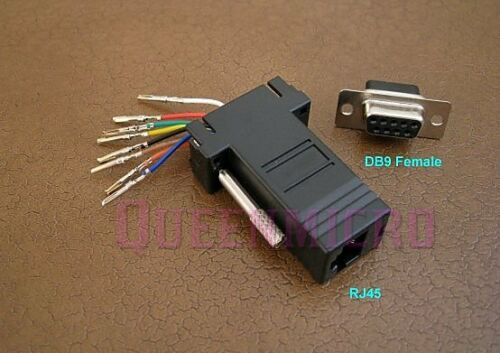 50 Pack DB9 Female to RJ45 Modular Adapter Connector 8P8C Serial RS232 Black