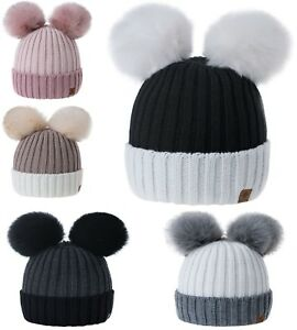 Women Ladies Winter Beanie Hat Miki Warm Knitted Double Pom Pom Faux Fur Twin LA