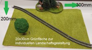 Modelleisenbahnrasen Grünfläche Rasenmatte Grasmatte Gras 20x30cm grün Neu #3