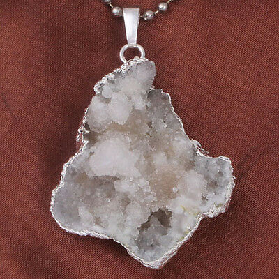 1x Natural Rock Crystal Drusy Clusters Geode Random Shape Stone Pendants Jewelry