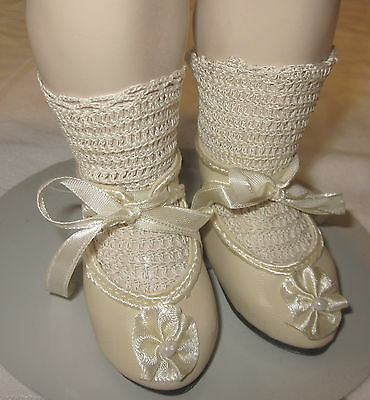 """German bisque doll 3 11//16/"""" long sz2 French antique style shoes for French"""