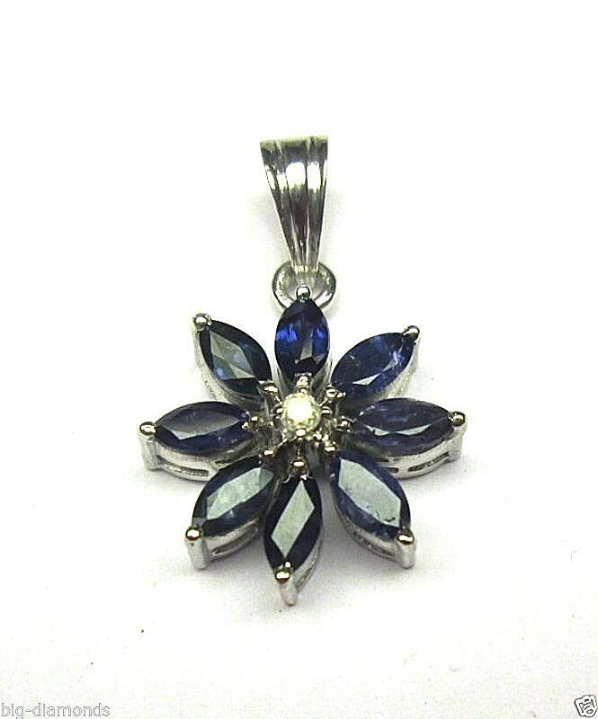 Beautiful Marquise Shape Sapphire Flower Design & Diamond Pendant With 16  Chain