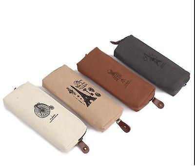 Hot Retro Canvas Pencil Pen Case Cosmetic Makeup Coin Pouch Zipper Bag Purse NEW