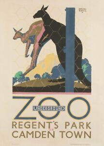 1921 English Travel London Underground Art Deco Poster Regent/'s Zoo