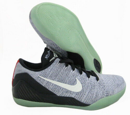 cheaper 1ae8f e28a8 Nike Kobe 9 Elite Low Flyknit ID Gray Black Glow in Dark Sz 14 677992-996