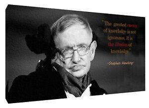 GéNéReuse Stephen Hawking Et Sa Citation Photo Imprimé Sur Encadrée Toile Wall Art Decor-afficher Le Titre D'origine