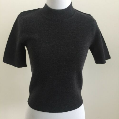Grey Mock Stretchy Sweater Carven Top Charcoal Grey Turtle S Wool Kortærmet FwxAH