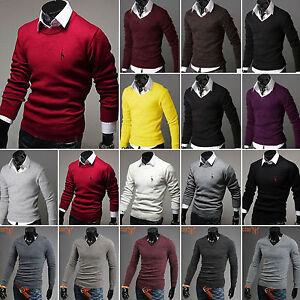UOMO-MODA-SLIM-POLO-CAMICIE-maglione-manica-lunga-maglia-maglione-maglia-maglia