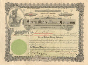 Sierra Madre Mining Company > 1906 stock certificate