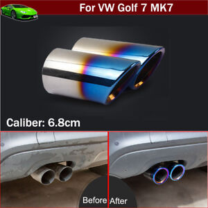 2pcs Blue Exhaust Muffler Tail Pipe Tip Tailpipe for VW Golf GTI 7 MK7 2013-2021