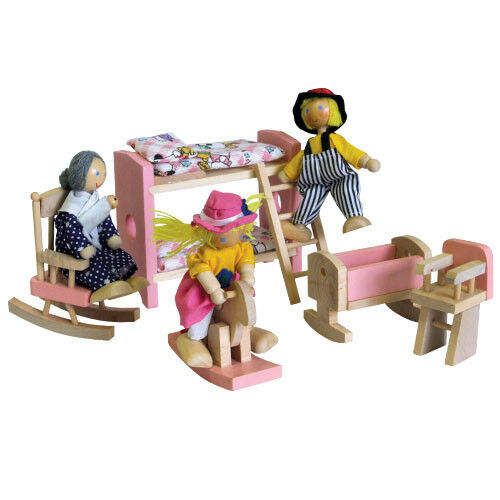 Wooden Bunk Beds & Nursery in Pink for Doll House by Timber Top Toys