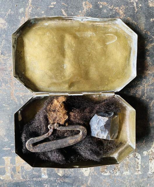 Revolutionary War Period Beautiful 8-Sided Brass Tinder Box w Striker & Flint