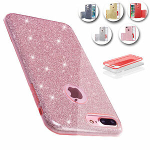 Hybrid-Bling-Glitter-Shockproof-Slim-PC-TPU-Case-Cover-For-iPhone-6S-7-8-Plus-X