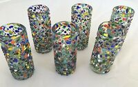 Set Of 6 Mexican Confetti Tequila Shot Glasses Handblown Blown Glass