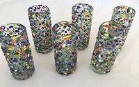 Set Of 6 Mexican Confetti Tequila Shot Glasses Handblown Blown Glass