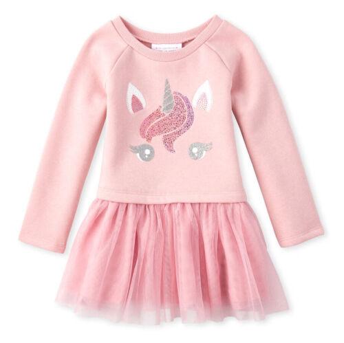 NWT The Childrens Place Unicorn Girls Long Sleeve Sweatshirt Tutu Dress 2T 3T 4T