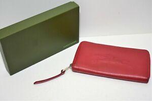 Longchamp, Portefeuille compagnon en cuir foulonné rouge   eBay