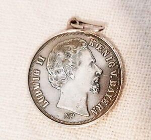 Medaille König Ludwig v. Bayern Charivari Anhänger Tracht Schmuck Neuschwanstein