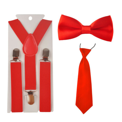 Adjustable Elastic Necktie Bow Tie Set Fashion Suspender Y-Back Braces For Kids