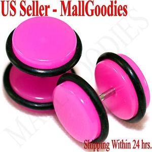 2030-Dark-Hot-Pink-Fake-Cheater-Illusion-Faux-Ear-Plugs-16G-Bar-1-2-034-12mm-2pc