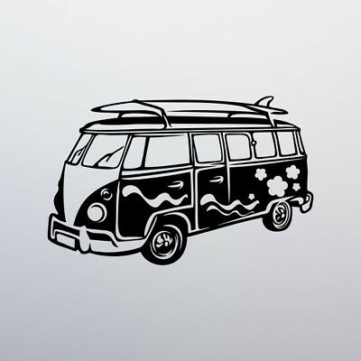 VW CAMPER VAN WALL STICKER beach surf peace love sun retro decal art mural