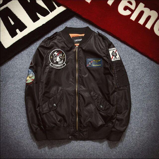 Moda Hombres Aire Chaqueta ma1 Ejército Vuelo Cazadora de aviador bordado