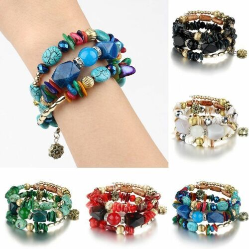 1X Unisex Boho Multi Natural Stone Beads Bracelet Women Wristband Bangle Jewelry