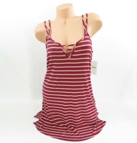 Jenni Medium Short Gown Red Orange Ladder Scoop Neck Chemise Striped Plum Wine