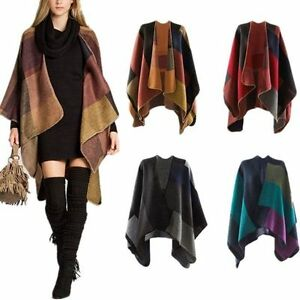 Winter Women Scarf Patchwork Plaid Poncho Cape Poncho Blanket Cloak Wrap Shawl