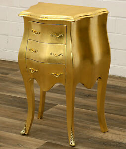 Barock Kommode Antik Finish Gold Nachttisch Konsole Table Commode