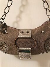"""Guess""""G"""" Studded Rhinestone Satchel- Lilac/Silver Metallic with Chain Strap"""