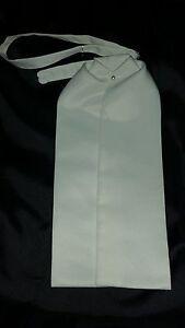 Mens Solid White Satin Pearl Ascot Cravat Victorian Dickens Wedding Rare