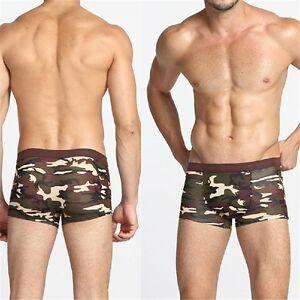 Men-Camouflage-Herren-Retro-Boxershorts-Unterhosen-Unterwaesche-Shorts-Slips-w